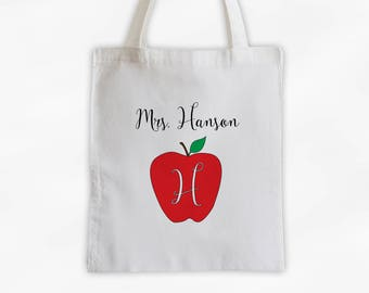 Monogrammed Apple Teachers Tote Bag Cotton Canvas - Custom Gift for Teacher, Professor, Educators, Daycare Provider (3007)