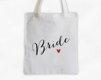 Bride Heart Cotton Canvas Tote Bag - Custom Wedding Bride to Be Gift, Wedding Day Kit Bag, Bridal Party Engagement Gift Tote (3013)