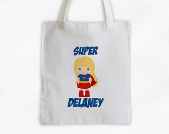 Superhero Girls Canvas Tote Bag - Super Kid Personalized Comic Book Travel Overnight Bag in Blue - Reusable Tote (3040)