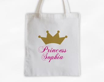 Princess Crown and Script Name Cotton Canvas Personalized Tote Bag - Custom Gift in Gold and Hot Pink  (3009)
