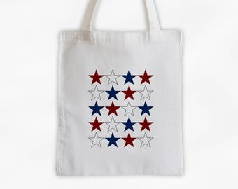 Dark Red White and Navy Blue Star Pattern Canvas Tote Bag - USA Bag for Memorial Day, Fourth of July - Reusable Tote (3021)