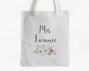 Mrs Antique Flowers Cotton Canvas Personalized Tote Bag - Custom Gift for Bride to Be, Teacher - Peach, Purple, and Blue (3003)