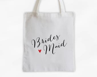Bridesmaid Heart Cotton Canvas Tote Bag - Custom Wedding Party Gift, Wedding Day Kit Bag, Bridal Party Attendant Tote (3013)