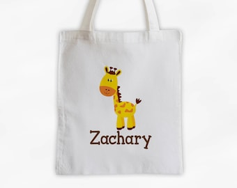 Personalized Giraffe Canvas Tote Bag - Custom Travel Overnight Bag for Kids in Brown - Reusable Tote (3004)