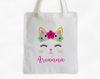 Kitty with Flowers Personalized Canvas Tote Bag - Cute Animal Custom Travel Overnight Bag - Reusable Tote with Cat Face