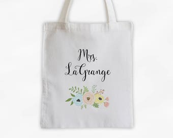 Mrs Antique Flowers Cotton Canvas Personalized Tote Bag - Custom Gift for Bride to Be, Teacher - Pastel Colors (3003)