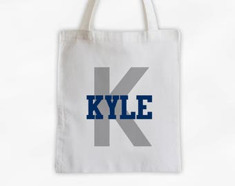 Initial and Name Cotton Canvas Personalized Tote Bag - Boys Monogram Sports Bag in Navy and Gray (3006)