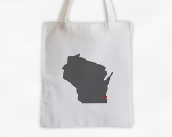 State Silhouette Canvas Tote Bag with Heart Over Home Town - Wisconsin Bag in Dark Gray on a Reusable Tote - Choose Any State (3025)