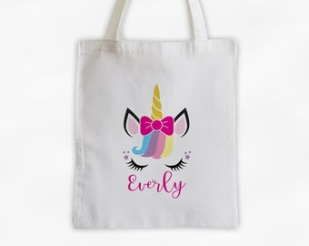 Unicorn with Rainbow Hair and Bow Personalized Canvas Tote Bag - Cute Animal Custom Travel Overnight Bag - Reusable Tote with Unicorn Face