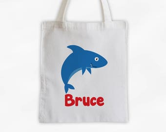 Personalized Shark Canvas Tote Bag - Sea Animal Custom Travel Overnight Bag for Boys or Girls - Ocean Reusable Tote (3045)