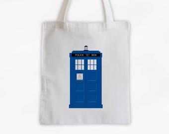 Blue Police Box Canvas Tote Bag - TV Fandom Reusable Tote (3026)
