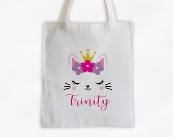 Kitty with Crown and Flowers Personalized Canvas Tote Bag - Cute Animal Custom Travel Overnight Bag - Reusable Tote with Cat Face