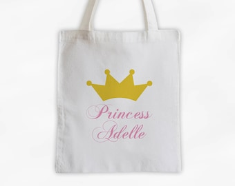 Princess Crown and Script Name Cotton Canvas Personalized Tote Bag - Custom Gift in Gold and Pink  (3009)
