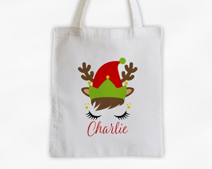 Featured listing image: Reindeer Elf Personalized Canvas Tote Bag - Cute Christmas Animal Custom Holiday Travel Overnight Bag - Reusable Tote