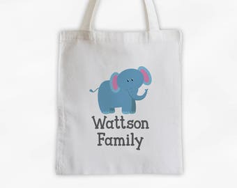 Personalized Elephant Canvas Tote Bag - Custom Travel Overnight Family Bag for Kids with Jungle Zoo Animal - Reusable Tote (3004)