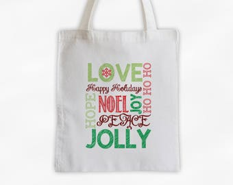 Holiday Words Canvas Tote Bag - Red and Green Christmas Chalkboard Typography Reusable Tote (3022)