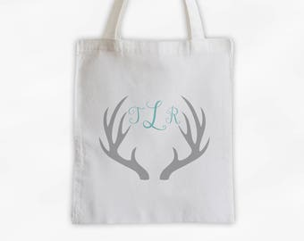 Antler Monogram Cotton Canvas Personalized Tote Bag - Initials Deer Silhouette Custom Gift in Gray and Light Teal  (3043)