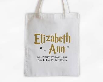Book Lovers Wizarding Tote Bag - Up To No Good Cotton Canvas Custom Magical Book Title Book Bag - Lightning Bolt Font in Gold (3012)