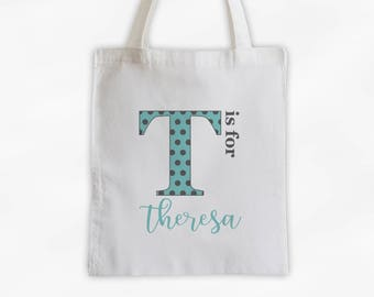 Polka Dot Initial Cotton Canvas Personalized Tote Bag - Letter is for Name Monogram Custom Gift in Robins Egg Blue and Gray  (3039)