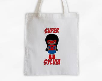 Superhero Girls Canvas Tote Bag - Spider Kid Personalized Comic Book Travel Overnight Bag in Red - Reusable Tote (3040)
