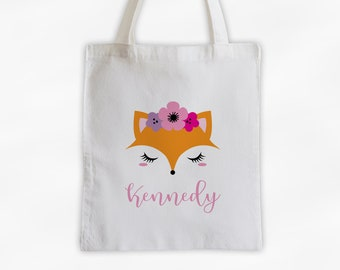 Fox with Flowers Personalized Canvas Tote Bag - Cute Animal Custom Travel Overnight Bag - Reusable Tote with Foxy Face
