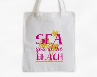 Sea You At The Beach Cotton Canvas Tote Bag with Palm Trees - Beach Vacation Travel Bag in Hot Pink and Golden Yellow (3017)