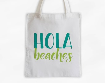 Hola Beaches Cotton Canvas Tote Bag - Beach Vacation Travel Bag in Teal and Lime Green (3015)