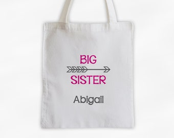 Big Sister Arrow Cotton Canvas Personalized Tote Bag - Custom Birth Order Siblings Gift in Hot Pink and Gray