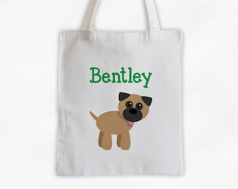 Puppy Dog Personalized Cotton Canvas Tote Bag - Custom Doggy Tote, Kids Bag in Green  (3010)
