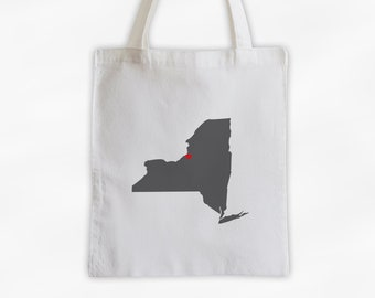 State Silhouette Canvas Tote Bag with Heart Over Home Town - New York State Bag in Dark Gray on a Reusable Tote - Choose Any State (3025)