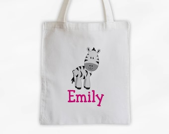 Personalized Zebra Canvas Tote Bag - Custom Travel Overnight Bag for Girls in Hot Pink - Reusable Tote (3004)