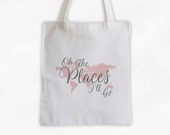World Map Oh The Places I'll Go Cotton Canvas Tote Bag - Custom Travel Bag in Charcoal Gray and Pink  (3014)