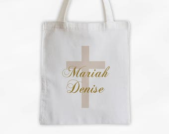 Cross with Name Cotton Canvas Personalized Tote Bag - Monogram Custom Gift in Gold and Cream  (3046)