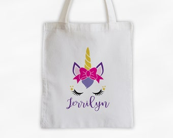 Unicorn with Bow Personalized Canvas Tote Bag - Cute Animal Custom Travel Overnight Bag - Reusable Tote with Unicorn Face