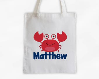 Personalized Crab Canvas Tote Bag - Sea Animal Custom Travel Overnight Bag for Boys or Girls - Ocean Reusable Tote (3045)