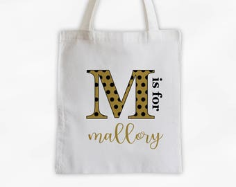 Polka Dot Initial Cotton Canvas Personalized Tote Bag - Letter is for Name Monogram Custom Gift in Black and Gold (3039)