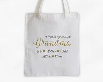 Grandparent and Grandkids Personalized Cotton Canvas Tote Bag - Favorite People Call Me Grandma Custom Gift in Gold and Black  (3030)