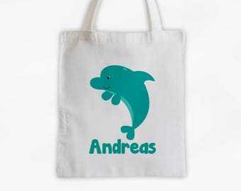 Personalized Dolphin Canvas Tote Bag - Sea Animal Custom Travel Overnight Bag for Boys or Girls - Ocean Reusable Tote (3045)