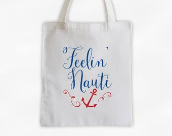 Feelin Nauti Cotton Canvas Tote Bag - Nautical Beach Vacation Travel Bag with Anchor in Blue and Red (3016)