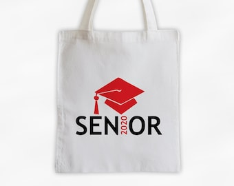 Senior Class of 2019 Canvas Tote Bag with Graduation Cap in Red and Black - Custom Travel, Overnight, Sports, Book Bag - Reusable Tote