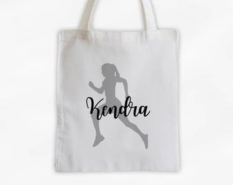 Runner Girl Cotton Canvas Personalized Tote Bag - Women's Sports Training Bag in Black and Gray (3047)