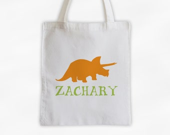 Personalized Dinosaur Canvas Tote Bag - Triceratops Custom Travel Overnight Bag for Boys or Girls - Reusable Tote in Orange and Lime