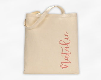 Personalized Cotton Canvas Tote Bag with First Name in Script Along the Side in Antique Pink - Custom Gift Reusable Shopping Bag  (3035)