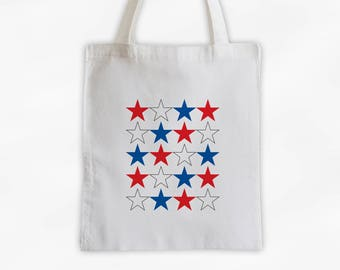 Red White and Blue Star Pattern Canvas Tote Bag - USA Bag for Memorial Day, Fourth of July - Reusable Tote (3021)