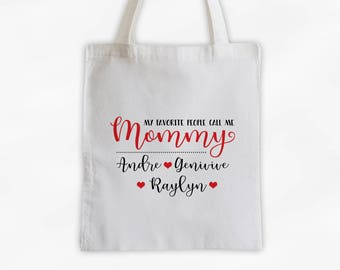 My Favorite People Call Me Mommy Personalized Cotton Canvas Tote Bag - Reusable Market Bag - Custom Mother's Gift in Red and Black (3036)