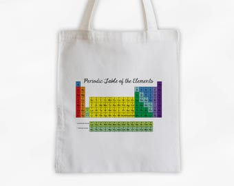 Color Coded Periodic Table of Elements Tote Bag Cotton Canvas - Custom Gift for Teacher, Professor, Educators, Science Lover (3031)