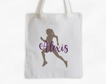 Runner Girl Cotton Canvas Personalized Tote Bag - Women's Sports Training Bag in Beige and Wine Purple (3047)