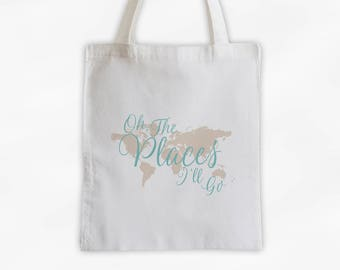 World Map Oh The Places I'll Go Cotton Canvas Tote Bag - Custom Travel Bag in Robins Egg Blue and Cream  (3014)
