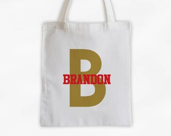Initial and Name Cotton Canvas Personalized Tote Bag - Boys Monogram Sports Bag in Red and Gold  (3006)