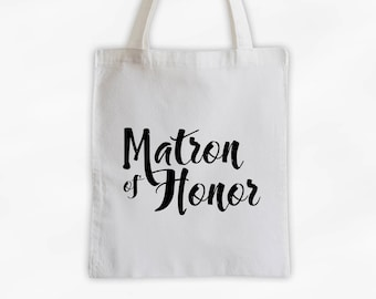 Matron of Honor Cotton Canvas Tote Bag - Custom Wedding Party Gift, Wedding Day Kit Bag, Bridal Party Maid of Honor Tote (3001)